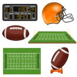 American Football Realistic Icons. With Field, Ball, Goal, Helmet, Scoreboard. Isolated vector illustration Royalty Free Stock Photography