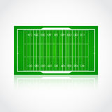 American football realistic, textured field. A realistic aerial view of official American football field Front view with reflection and marking, easily resizable Royalty Free Stock Images