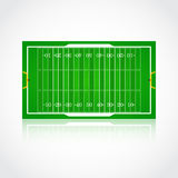 American football realistic, textured field. A realistic aerial view of official American football field Front view with reflection and marking, easily resizable Stock Images