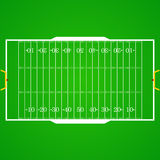 American football realistic, textured field. A realistic aerial view of an official American football field. Top view with marking, easily resizable. Template Royalty Free Stock Image