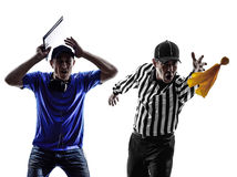 American football referee and coach. Conflict dispute in silhouette on white background royalty free stock photography