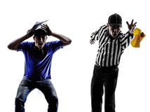 American football referee and coach. Conflict dispute in silhouette on white background royalty free stock image