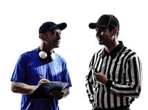 American football referee and coach. In silhouette on white background stock images