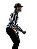 American football referee gestures clipping silhouette. American football referee gestures clipping in silhouette on white background Royalty Free Stock Image