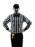 American football referee gestures offside silhouette. American football referee gestures offside in silhouette on white background stock photo