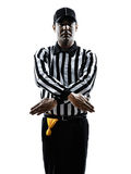 American football referee gestures penalty refused silhouette Royalty Free Stock Images