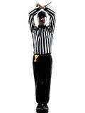 American football referee gestures personal foul silhouette. American football referee gestures personal foul in silhouette on white background royalty free stock photo
