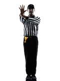 American football referee gestures silhouette. American football referee gestures in silhouette on white background Royalty Free Stock Photography