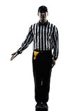 American football referee gestures silhouette. American football referee gestures in silhouette on white background Royalty Free Stock Images