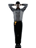 American football referee gestures silhouette. American football referee gestures in silhouette on white background Stock Images