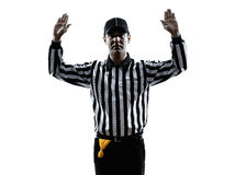 American football referee gestures silhouette Stock Photography