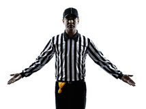 American football referee gestures silhouette Royalty Free Stock Image