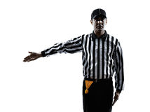 American football referee gestures silhouette Stock Images