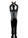 American football referee gestures time out silhouette. American football referee gestures time out in silhouette on white background royalty free stock images