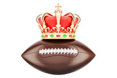 American football with royal crown, 3D rendering. Isolated on white background Royalty Free Stock Images