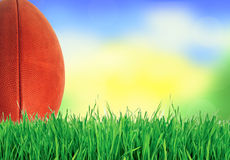 American football (rugby ball) on green grass over nature Royalty Free Stock Image