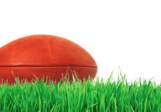 American football (rugby ball) on green grass over white Royalty Free Stock Photos