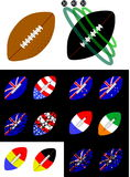 American Football and Rugby balls Royalty Free Stock Image