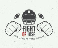 American football or rugby motivation with helm, fists and ball Stock Photo