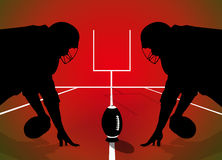 American football rugby players silhouette. American rugby players silhouette on red background Stock Photography