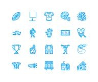 American football, rugby vector flat line icons. Sport game elements - ball, field, player, helmet, fan finger, snacks. Linear signs set, championship Stock Photos