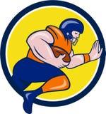 American Football Running Back Charging Circle Cartoon Stock Images