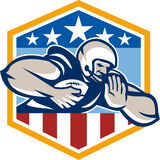 American Football Running Back Fend-Off Crest Stock Photos