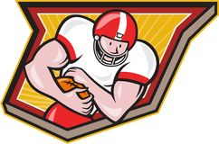 American Football Running Back Run Shield Cartoon Royalty Free Stock Photos