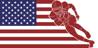 American football running with the ball on flag background. Royalty Free Stock Images