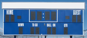 American Football Scoreboard in Blue Royalty Free Stock Images