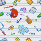 American Football Seamless Doodle Pattern On Scrap Paper. Vectorseamless pattern of American football doddle theme stock illustration
