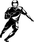 American Football Shadow. Isolated Vector Illustration of football player holding a ball running vector illustration