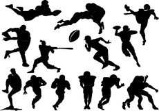 American football silhouettes set Royalty Free Stock Photography