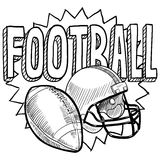 American football sketch. Doodle style American football illustration illustration in vector format. Includes text, helmet and ball Stock Photos