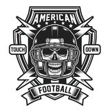 American Football Skull Emblem Isolated on White vector illustration