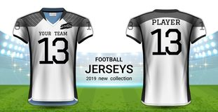 American Football or Soccer Jerseys Uniforms, Realistic Graphic Design Front and Back View for Presentation Mockup Template