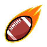 American football sport leather comet fire tail flying logo. Symbol isolated label badge Stock Photo