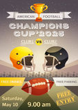 American Football Sport Poster. With advertisement of match between sporting clubs and event date  flat vector illustration Stock Photography