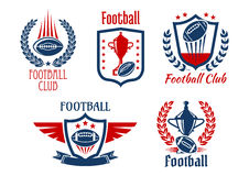 American football sport symbols and icons. American football sport heraldic symbols and icons for sporting club or team design with trophy prizes and balls Royalty Free Stock Photos