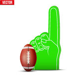 American football Sports Fan Foam Fingers and ball. Symbol of American footballSports Fan Foam Fingers and ball. Vector Illustration  on white background Stock Photos