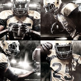 American football sportsman player on stadium with lights on background Royalty Free Stock Photography