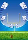 American football stadium. Abstract background with american football stadium. Detailed grass and goalpost royalty free illustration