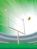 American football stadium. Abstract background with american football stadium. Detailed grass and goalpost stock illustration