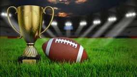 American football stadium. American football arena with ball and trophy cup on green grass illumination at night, 3D rendering stock images
