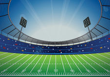 American Football Stadium Arena. American Football field with bright stadium. vector illustration Royalty Free Stock Photos