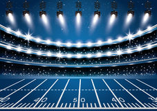 American Football Stadium Arena with Spotlights. Royalty Free Stock Photos