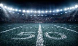 American football stadium 3D in light rays render. Lights at stadium 3d render, evening sky Royalty Free Stock Image