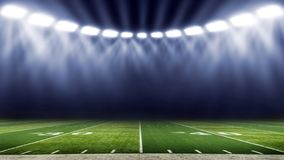 American football stadium low angle field view. American football stadium lights with low angle field view royalty free stock photos