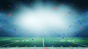 American football stadium win celebration. American football field championship win celebration, confetti over bright stadium lights with copy space stock photo