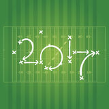 American Football strategies for goal 2017 green background. American Football strategies for goal 2017 green field background vector Royalty Free Stock Photography
